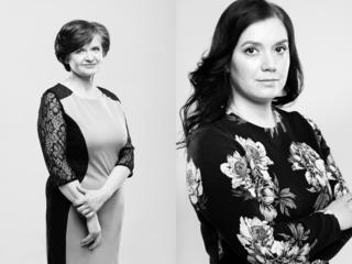 Two portraits of the women victims of domestic violence - Irina (left) and Natalya