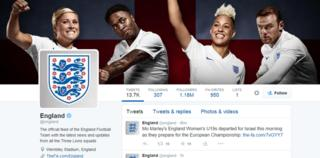 The Twitter feed of the official @England national team account