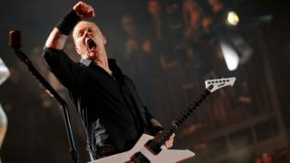 James Hetfield of Metallica performing at the Glastonbury Festival