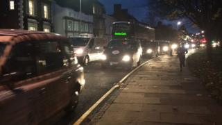 Taxi drivers stage a go slow protest in Leicester