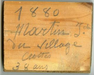 Inscription on parquet floor board