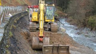 Repair work on flood-damaged A591 in Cumbria