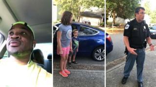 子供2人の面倒を見ていたコーリー・ルイスさんは警察に職務質問された
