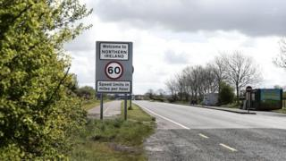 A sign at the Irish border that reads: 'Welcome to Northern Ireland'