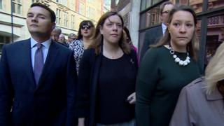 Ruth Smeeth (wearing sunglasses) arrives flanked by other MPs