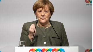 German Chancellor Angela Merkel speaks during the Global Solutions Summit in Berlin, Germany, 19 March 2019