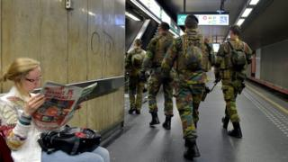 Belgian soldiers patrol a metro station near the headquarters of European institutions in Brussels, Belgium May 24, 2017