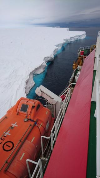 A view of the side of the ship, coming alongside the Brunt Ice Shelf.