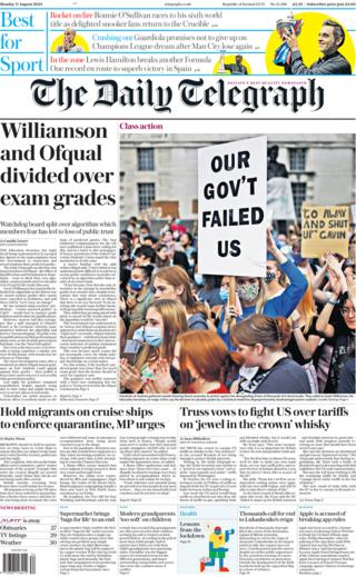 The Daily Telegraph front page 17 August 2020