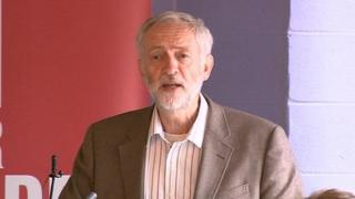 Jeremy Corbyn speaking in Leeds on the Labour leadership campaign trail