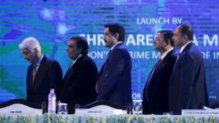 """Azim Premji, chairman of Wipro, Mukesh Ambani, chairman of Reliance Industries Limited, Kumar Mangalam Birla, chairman of Aditya Birla Group, Cyrus Mistry, chairman of Tata Group, and Anil Ambani, chairman of the Reliance Anil Dhirubhai Ambani Group (L-R) attend the launch of """"Digital India Weekâ"""