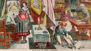 Ilustração do século 17 com pessoa enferma