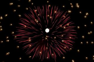Fireworks explode in front of the full moon during celebrations marking the feast of the Assumption of Our Lady in Mosta, Malta, 14 August 2019.