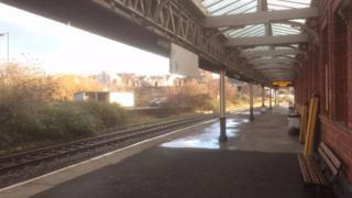 Empty platform at Llandudno Junction station