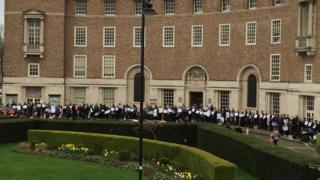 Protest outside county hall in Somerset