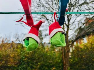 Festive sprouts hanging from a washing line in Abingdon