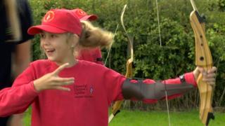 Children doing archery