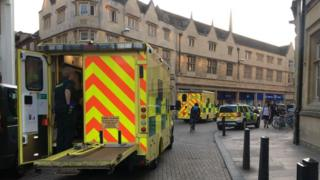 Emergency service vehicles in Cambridge