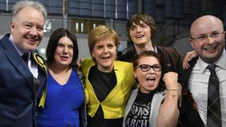 Nicola Sturgeon with SNP candidates