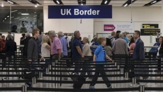 UK Border Force passport check at Gatwick Airport