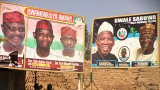 PDP campaign billboard (l) APC billboard (r) for Kano state, Nigeria