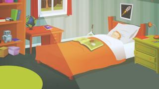 Teenage bedroom illustration