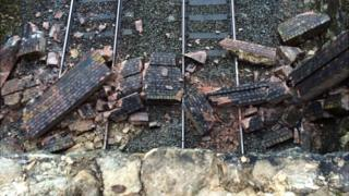 Rubble of railway tracks