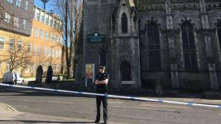 The police cordon which was set up outside the Ipswich International Church at the top of Portman Road