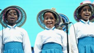 The Basotho Children's choir perform on stage during the Sentebale Concert at Kensington Palace on June 28, 2016 in London, England. Sentebale was founded by Prince Harry and Prince Seeiso of Lesotho over ten years ago. It helps the vulnerable and HIV positive children of Lesotho and Botswana