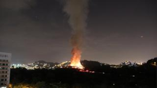 A fire blazes at the National Museum of Brazil in Rio de Janeiro on 2 September 2018