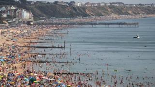 Bournemouth beach in Dorset 8 August 2020