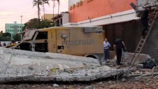 Escombros en el edificio de Prosegur.