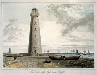 Painting Orfordness Lighthouse by William Daniell from his 1822 series A Voyage Round Great Britain