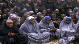 Chibok schoolgirls in screengrab from Boko Haram video - May 2014