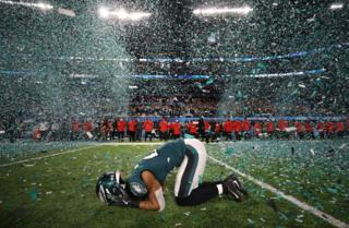 Philadelphia Eagles player Patrick Robinson celebrates his team winning the Super Bowl.