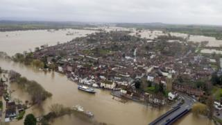 Flood water continues to surround Upton-upon-Severn, Worcestershire, in the aftermath of Storm Dennis