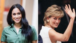 Separate photos of Meghan Markle and Diana, Princess of Wales