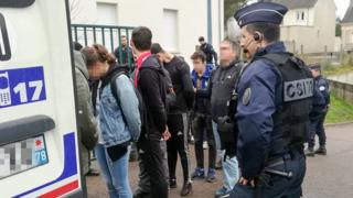 Police arrest students close to the Saint-Exupery high school in Mantes-la-Jolie in the Yvelines, following clashes, 6 December 2018