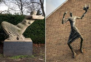 The Leaning Woman by Karel Vogel, 1959 - Hammersmith, London. The Preacher by Peter Laszlo Peri, 1961 - Forest Gate, London.