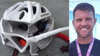 Carl Edwards and his broken helmet