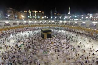 Muslim worshippers gather at the Grand Mosque in the city of Mecca