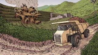 Ilustração de um caminhão de minério trafegando por uma estrada de terra; ao lado, a barragem estourando
