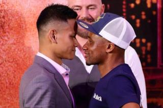 Paulus Ambunda of Namibia and Muhamad Ridhwan of Singapore face off during the Roar of Singapore V - The Kings of Lion City Official Press Conference at Sands Expo & Convention Centre on September 25, 2018 in Singapore.