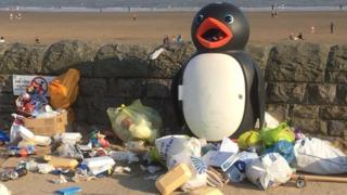 Rubbish left on Barry Island beach