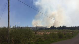 Smoke can be seen rising from the blaze at Mullaghfad forest