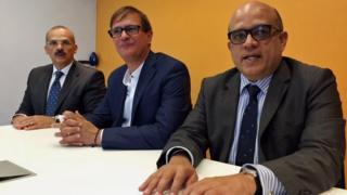 Alejandro Rebolledo, Pedro Troconis y Antonio Marval.