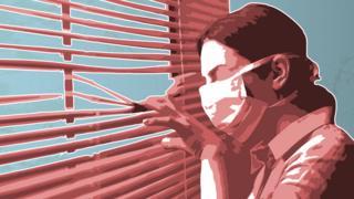 Ilustración mujer con mascarilla mirando por la ventana.