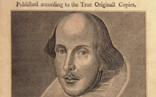 A page from the first folio with an image of Shakespeare