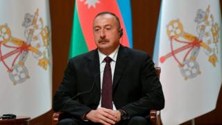 Azerbaijan's President Ilham Aliyev looks on during a meeting with Pope Francis and the authorities at the Heydar Aliyev Center in Baku, Azerbaijan, Oct. 2, 2016.