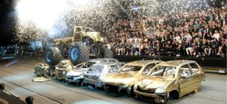 Cars are crushed at a Philipp Plein fashion show
